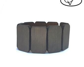 Bracelet wooden reversible gray / Brown