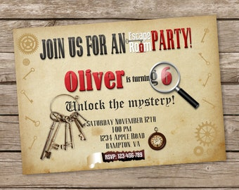 Escape Room Party Invitation,  Escape Room Party, Escape Room invites, Escape Room Birthday, Mystery Birthday Party, Escape Room theme