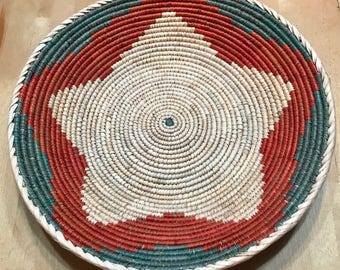Forest Green, Red and White Hand Woven Sea Grass Basket #316 // woven wall basket // woven wall art // wall basket