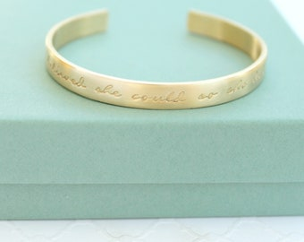 Quote Bracelet - She Believed She Could Bracelet - Personalized Cuff Bracelet - Graduation Jewelry - Gift For Her - Quote Jewelry -