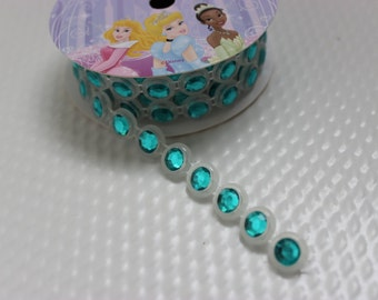 "Disney Princess Trim Aqua Faux Rhinestones / 1 yard 7/16"" wide / Accents"