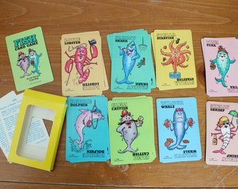 Go Fish Vintage Card Deck, 1985, Fish Card Game, 4 of Each of 7 Cards Plus One Set of 3, 31 Cards Total, Not Complete, Shrimp, Whale, Tuna