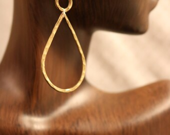 Hammered Brass Teardrop Earrings