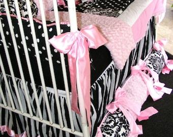 Gorgeous Baby Bedding set Light Pink Rose Cuddle polka dots black n white damask Stripes bubble gum pink Kona cotton soft high quality chic