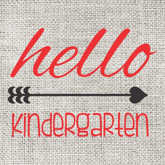 INSTANT DOWNLOAD Hello Kindergarten Back to School Print Yourself Printable DIY Iron On to Tee T-Shirt Transfer - Digital File