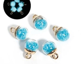 Lake blue rhinestone goldtone 17x12mm glass globe charm