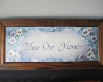 Vintage Bless Our Home,Bless Our Home Picture,Bless Our Home Framed Print,Framed Bless Our Home,Country Bless Our Home Print,Country Decor