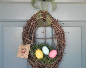 Easter Wreath - LIMITED STOCK Nest with Natural Speckled Easter Eggs and Spanish Moss - Ribbon Changeable