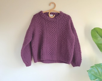 Handmade Purple Wool Sweater Size Large