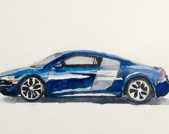 Audi R8, car painting, car watercolor, child art, german car, exotic car