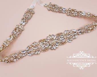 Gold Bridal belt, gold bridal sash, wedding belt, rhinestone belt, mint bridal belt, crystal belt, green opal belt, bridal belt, MEGAN