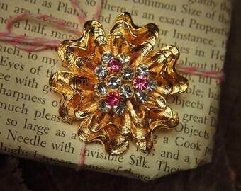 Gardenia Brooch antique vintage styled, bridesmaid, rhinestone diamante, wedding, mothers gift, men lapel, enamel, hijab #5285