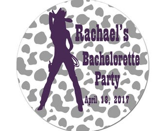 Custom Bachelorette Party Labels Personalized Cowgirl Western Round Glossy Favor Stickers Bridal Showers Favors Weddings Birthdays