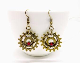 Steampunk Earrings Cog Gear Jewellery Red Bronze Accessories