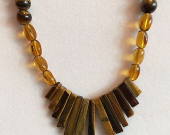 """Semi Precious Tiger's Eye and Amber Necklace with a Tiger's Eye Fan 21"""" Long"""