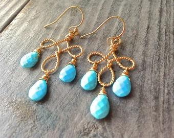 Turquoise Gemstone Chandelier 14kt Gold Filled Earrings