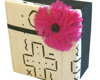 Black, White and Pink Fabric Box with Flower for Stationery, Office Storage, Jewelry Box, Media Storage, Gift for Woman
