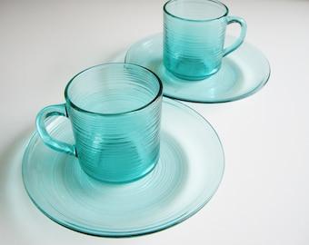 Vintage Glass Dishes, Arcoroc Jardiniere, Turquoise, Aquamarine, Dish Set, Breakfast Set, Mugs and Plates. 4 pieces, French Glassware