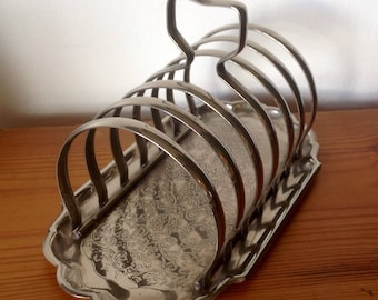 Vintage Toast Rack With Crumb Tray. Decorative Toast/Letter Rack. 1940's/50's.