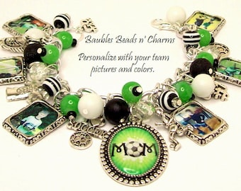 Personalized Soccer Mom Charm Bracelet Jewelry, Custom Soccer Mom Charm Bracelet Jewelry, Your Child's Soccer Team Charm Bracelet Jewelry