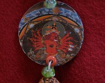Red Ganesha Recycled bottle cap pendant