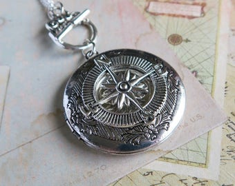Compass Locket Necklace, Silver Compass Locket, Compass Rose, Rose of the Winds Pendant, Wind Rose, Directional Jewelry, Navigation Locket