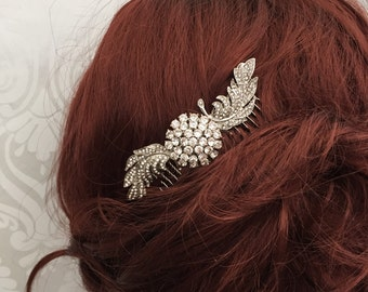 bridal hair comb - wedding hair comb - feather hair comb - beidal headpiece - bridal hair accessory