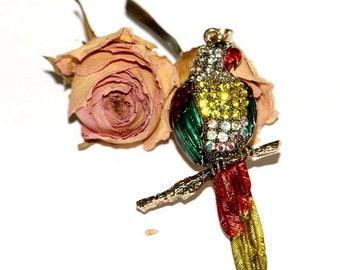 Pendant gold, enamel Parrot with Rhinestone pendant size: 8 x 5 cm