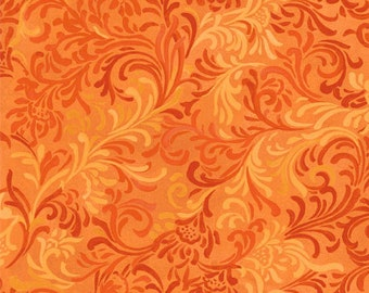 Floral Fabric, Essentials Embellishment by Wilmington Prints, Orange Fabric, Orange Floral Fabric, Orange Scroll Fabric, 10056