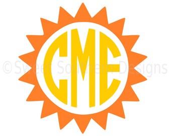 Monogram sun SVG instant download design for cricut or silhouette