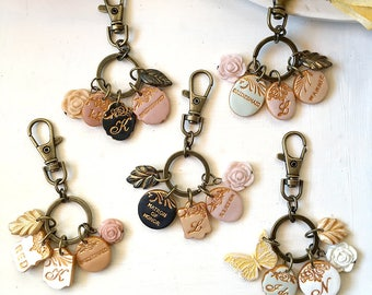 Bridal Bouquet Charms - Bouquet Accessories - Personalized Charms Wedding - Bride and Bridesmaids custom gifts and Bouquet accessory