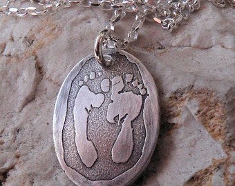 Solid Sterling Silver Pendant Customized with Actual Handprint likeness - Footprint too - Hand Print Foot Print Paw Print Footprint Pawprint
