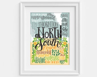 North and South by Elizabeth Gaskell, characters and places - print (12,60 x 18,10)
