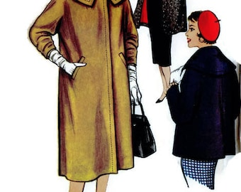 Simplicity 1001 Sewing Pattern Women's Coat Long or Cropped Wide Collar Retro 50s Fashion Size 14
