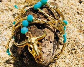 Necklace turquoise Buffalo head