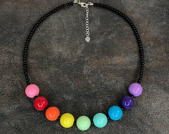 Rainbow Necklace, Black, Glass Pearl Necklce, Chunky Necklace, Black Bead Necklace, Rainbow, Round Bead Necklace, Glass Bead Necklace