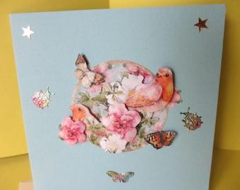 Card 3D (raised) flowers, butterflies and birds