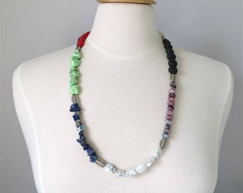 Necklace long colorful mix of gemstones and beads Many Treasures