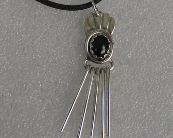 "Native American Southwestern Style  Pendant Sterling Silver and Onyx 2"" Long"