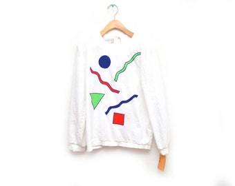 80s Abstract Shape Squiggly Blouse Women's NOS Dead Stock Medium 8 Long Sleeved