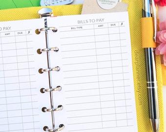 PRINTED Pocket size bill payment tracker - Bills checklist insert - Finance tracker - Pocket size planner refill - K-05