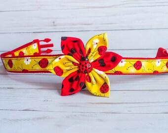Polka Dot flower dog collar, Puppy collar, Girl Small dog collar, Medium Large daisy ladybug dog collar, spring summer dog collar