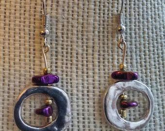 space glam earrings, purple rocks