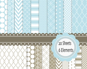 Classic Blue and Brown Digital Scrapbook Paper and elements: 20 sheets and 6 cliparts - INSTANT DOWNLOAD Pack 071