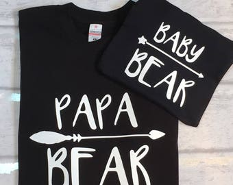 Papa Bear, Fathers Day, Baby Bear, Matching Sets, Gift For Dad, New Daddy Gift, Bear Family, Family Sets, Set Of Two, Matching Tshirt Set