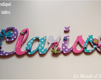 Name personalized - wooden plate holder or kids wall decor - flowers, stars, butterflies - Clarisse
