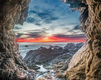 The Secret Cave - cave,big sur,blues,earth tones,sunset,circle,california,rocky,coast,office decor,home decor