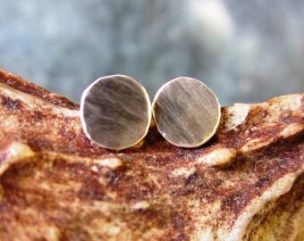 Brushed Sterling Silver Stud Earrings by YOLLA (mens/womens)