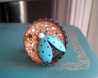 Vintage Ladybug Statement Ring - Enamel Insect Tea Time / Cocktail Ring - Chunky Retro Blue Bug Secret Garden Pointillism Art Jewelry Gift