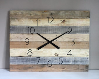 "Large FARMHOUSE Clock Rectangular. 36"" by 26"" Rustic yet Modern  Natural, Raw, Reclaimed Wood.  Wall Clock. 5 Year Anniversary Gift"